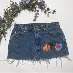 Urban Renewal Vintage Levi's Denim Skirt Patches